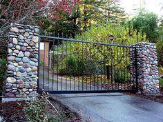 Excellent Stone and Iron Entry Gates 504 x 378 · 107 kB · jpeg Entry Gates, Big Day, Sidewalk, Castle, Iron, Landscape, Pretty, Ideas, Entrance Gates