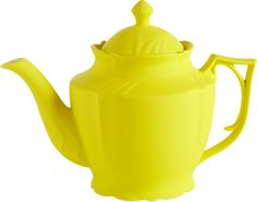 hi tea.  Neo Victorian teapot pours modern in a surprise pop of bright yellow silicone—yes, silicone—over porcelain.  Sculptural shape and touchy-feely texture are sure to be the talk of the table.  Have a tea party with ray ray and wayne teapots. PorcelainSilicone-coated yellow finishDishwasher-safe.