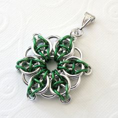 Green Celtic star pendant chain mail pendant by TattooedAndChained, $15.00