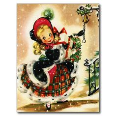 Plaid and Fur Christmas Girl Postcard