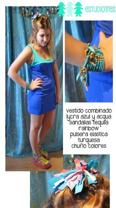 vestido lucra azul/aqua + gomita chuflo + pulsera elastica turquesa + sandalias tequila rainbow.