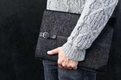 "maninpink: "" MacBook Pro 15 Sleeve Smokey Grey Felt & Black Leather by Cocones "" Suede Leather, Black Suede, Black Leather, Macbook Sleeve, Cool Store, Macbook Pro 15, Metal Buckles, Grey Sweater, Arm Warmers"