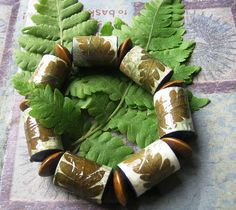 Pressed Fern and Paper Beads Bracelet by Accents & Petals, via Flickr