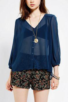 Sheer Chiffon V-Neck Blouse, loose print shorts & necklace