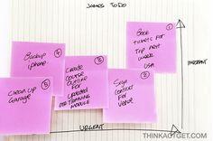 Organizing tasks - urgent vs. important w/ post-its - smart idea!