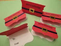 Santa Belt Christmas Gift Tags set of 10 by CardsbyDeanna on Etsy