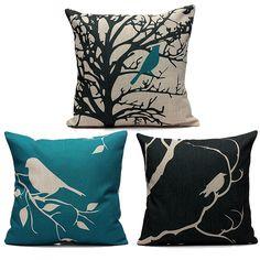 45cm x 45cm Vintage Bird Design Linen Cushion Case
