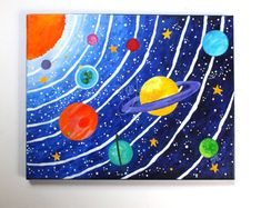 CUSTOM art, Solar System, acrylic canvas painting, space themed original art This is a listing to commission a painting. Space Painting, Easy Canvas Painting, Acrylic Canvas, Painting For Kids, Diy Painting, Art For Kids, Acrylic Paintings, Solar System Painting, Art Mini Toile