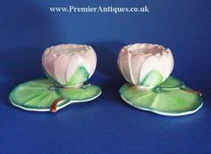 I only have one of these beautiful Carlton Ware pink water lily candle holders. JH A rare pair of pink water lily candle holders Coffee Cups And Saucers, Cup And Saucer, Turkish Coffee Cups, English Pottery, Carlton Ware, Antique Perfume Bottles, Vintage Pottery, Candle Holders, Cup Holders