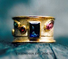 Unique ENGAGEMENT WEDDING RING Engagement Ring in two parts  with rectangular sapphire and fancy-cut pink sapphires, ruby and emerald in white and yellow gold -  Custom by TresorsDuJour