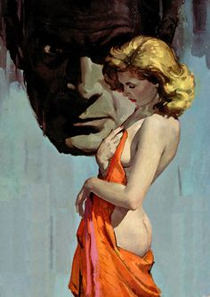 """Robert Maguire. Beautiful woman and a sinister looking guy. Trouble. This painting was on the cover of the paperback """"Bedeviled"""" by Wenzell Brown."""