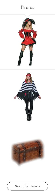 """Pirates"" by mysfytdesigns ❤ liked on Polyvore featuring costumes, cosplay costumes, pirate halloween costumes, cosplay halloween costumes, pirate costume, red halloween costumes, halloween costumes, style poncho, poncho costume and pirates"