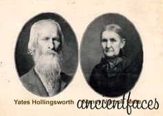 """Yates Hollingsworth and his wife Nancy Vernon Mote.  Yates was born on June 12, 1823; Nancy was born on Sep 20, 1828.  Yates is the 4th Great Grandson of Valentine Hollingsworth.  His parents were Joel Hollingsworth & Anna McConnel.""""  (Image:  Contributed by Dawnee McCulley; added January 1, 2001; """"Photo taken on 1880"""")."""
