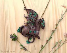 Earth Dragon necklace - tree inspired dragon art by RegnumLaternis.deviantart.com on @DeviantArt