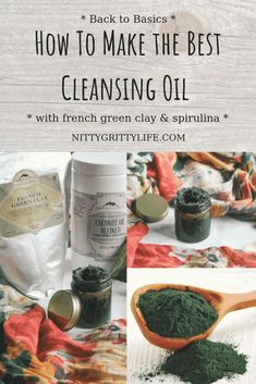 The Best Cleansing Oil with French Green Clay & Spirulina Are you looking for the best cleansing oil for a clear and nourished complexion? This oil cleanser is packed full of French green clay and spirulina to promote a fresh and youthful face. Spirulina, Homemade Skin Care, Diy Skin Care, Homemade Beauty, Aloe Vera, Best Cleansing Oil, Oil Cleansing Method, Haut Routine, Oil Based Cleanser