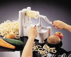 Paderno Spiralizer Tri-Blade Plastic Spiral Vegetable Slicer can make fancy cuts of fruits and vegetables.  Slicing vegetables can be quite a chore that many people would rather avoid. They can do so by purchasing the Paderno World Cuisine Vegetable Slicer for their kitchen today.