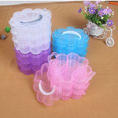 Plastic Plum Flower Shape Jewelry Beads Storage Box Craft Case Craft Container