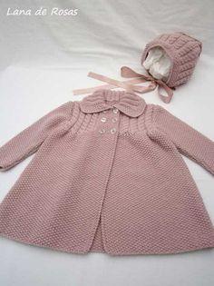 Paz Rodriguez Baby Girls Pink Pram Coat and Bonnet Baby Cardigan Knitting Pattern Free, Crochet Baby Jacket, Baby Hats Knitting, Baby Knitting Patterns, Baby Patterns, Baby Girl Cardigans, Baby Girl Jackets, Baby Sweaters, Girls Sweaters
