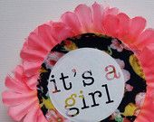 NEW BABY  'it's a girl' pIN BADGE by dAKOTA rAE dUST Pin Badges, Rosettes, Statement Earrings, New Baby Products, Textiles, Birthday, Handmade Gifts, Fabric, Prints