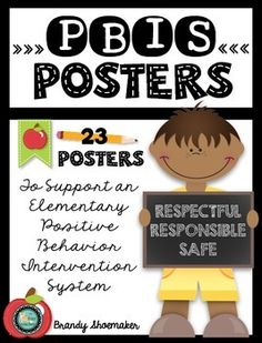 PBIS Posters: Here's a back to school freebie that you don't want to miss! This set of 23 PBIS (Positive Behavior Interventions and Support) posters make implementing PBIS and reminding students of expectations a breeze! Cute, colorful, and clear.
