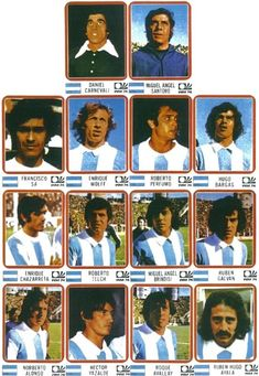 Argentina team stickers for the 1974 World Cup Finals. Argentina Football Team, Argentina Team, Bobby Moore, Coventry City, World Cup Teams, Fifa World Cup, Leeds United, Miguel Angel, 1974 World Cup