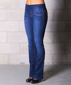 Loving this Lola Jeans Medium Wash Pull-On Stretch Bootcut Jeans on #zulily! #zulilyfinds