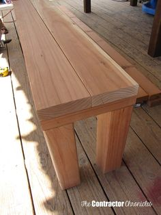 Simple benches~Change length of bench see ** below for your needs. Great design and tutorial. For 2 Benches: @ 55 ** **Length @ @ @ Only get if you want bench skirting: @ 58 (mitered at Backyard Projects, Diy Wood Projects, Home Projects, Woodworking Bench, Woodworking Projects, Woodworking Joints, Picnic Table, A Table, Garden Furniture