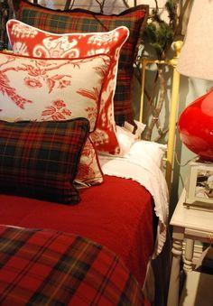 Cozy Red Tartan Bedding