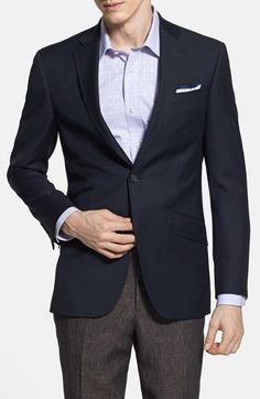 Free shipping and returns on Ted Baker London 'Judd' Trim Fit Navy Wool Blazer at Nordstrom.com. Razor-sharp Italian wool shapes a modern-cut blazer with a two-button front framed by pick-stitched notch lapels.