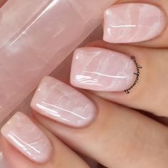 Pink rose quartz nail art
