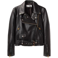 Acne Studios Merci Leather Jacket (2.324.360 COP) ❤ liked on Polyvore featuring outerwear, jackets, coats, coats & jackets, black leather jacket, black biker jacket, genuine leather jacket, leather motorcycle jacket and zipper jacket