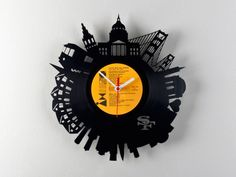 Vinyl Record City Wall Clocks