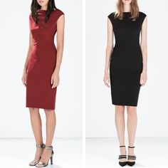 ZARA BOATNECK TUBE DRESS Best For: This boatneck tube dress from Zara has all the look of a serious splurge, with an $80 price tag. Careful seaming gives a super figure-flattering look. Asymmetric hem Zip down the back 95% polyester