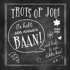 Je hebt een nieuwe baan! Birthday Cards, Happy Birthday, New Job, Teacher Gifts, Illustrations Posters, Chalkboard, Texts, Doodles, Typography