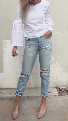 224bc6c40 34 Best White shirt with jeans images