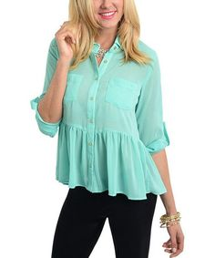 94de205e2e21 Another great find on  zulily! Mint Sheer Peplum Button-Up  zulilyfinds  Button