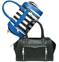 "mark Handle with Flair #Handbag - The super-polished satchel gets a trendy treatment times two with #chic ostrich embossing and fabulously fun black and white stripes met with flashes of #neon blue. Black: Faux-ostrich body with shiny silvertone hardware; Striped: Fabric with faux-leather handle and trim and shiny silvertone hardware. 13"" W x 15"" H x 6"" D; 15"" W x 7 1/2"" H (4 1/2"" L handle drop) Shop now at http://krislingsch.avonrepresentative.com"