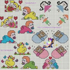 small ideas for baby favours Cross Stitch Fairy, Cross Stitch For Kids, Cross Stitch Animals, Disney Cross Stitch Patterns, Cross Stitch Charts, Embroidery Fonts, Embroidery Patterns, Perler Bead Disney, Stitch Cartoon