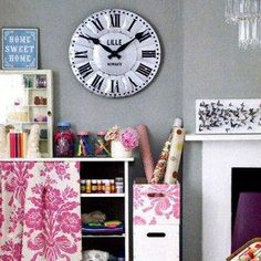 Wrapping & Craft Room with the Lille Tin Wall Clock by Barn Light Electric