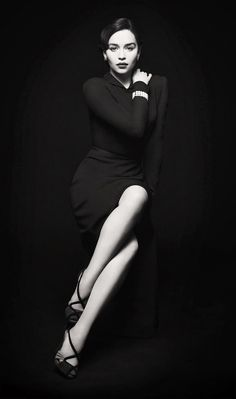 Emilia Clarke - Photography - Sophisticated and sexy, this black and white portrait is striking and empowering.