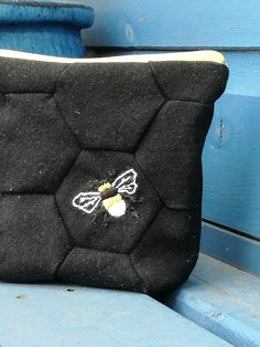 Hand embroidered bumble bee on hexagon's representing honeycomb. A little clutch or coin purse Handmade Design, Honeycomb, Hand Embroidery, Cufflinks, Coin Purse, Workshop, Bee, Sewing, Accessories
