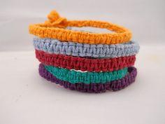 Hemp Bracelet Stack Pumpkin Violet Powder by PeaceLoveNKnottyHemp, $10.00