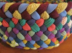 8 Inch Colorful Braided Basket/Bowl from recycled by mrsginther, $32.00