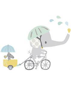 DECOILUZION - Vinilo infantil Elefante en bicicleta