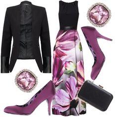 Per una serata elegante o una cerimonia, ho scelto un outfit raffinato ed elegante che vede l'abito lungo in primo piano grazie alle sue mille sfumature floreali!