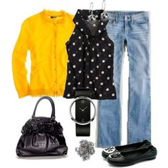 Yellow and black polka dot? Yep, it's got to be j crew. This is a look that could be dressed up by subbing black or gray dress slacks for the jeans. LJH