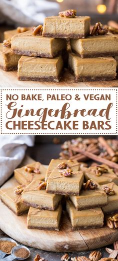 """With an easy pecan-and-date crust and tons of warm spices, these Gingerbread Cheesecake Bars are packed with the holiday season's warm flavors. These """"cheesecake"""" bars are made with soaked cashews to Paleo Dessert, Gluten Free Desserts, Delicious Desserts, Dessert Recipes, Cake Recipes, Snack Recipes, Baking Recipes, Vegan Recipes, Gingerbread Cheesecake"""