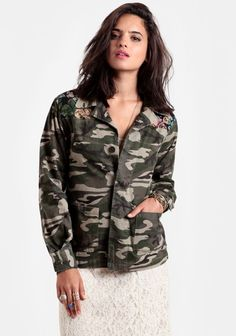 Camouflage Jacket with floral tapestry inset at shoulders.