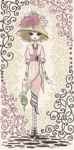 Jennelise: 'Grand Traditions of French Couture' Images Victoriennes, Dibujos Cute, Rose Art, Copics, Mixed Media Art, Paper Dolls, Fashion Art, Coloring Pages, Illustration Art