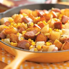 Campfire Hash  This is one of my favorites ! I like to spice it up and use jalapeno sausage and use rotel! When your in a hurry, use the frozen cubed hashbrowns with bell pepper and onion already in the bag. Super good  and easy !